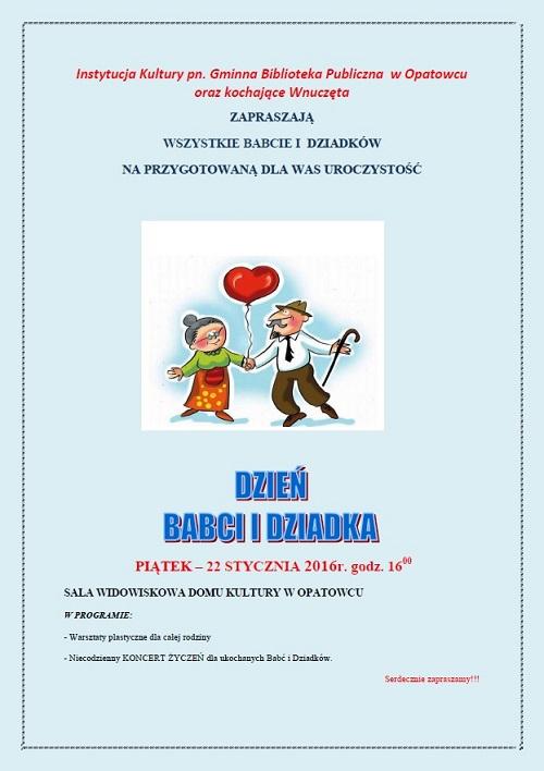 Zaproszenie Na Dzień Babci I Dziadka Do Gminnej Instytucji Kultury